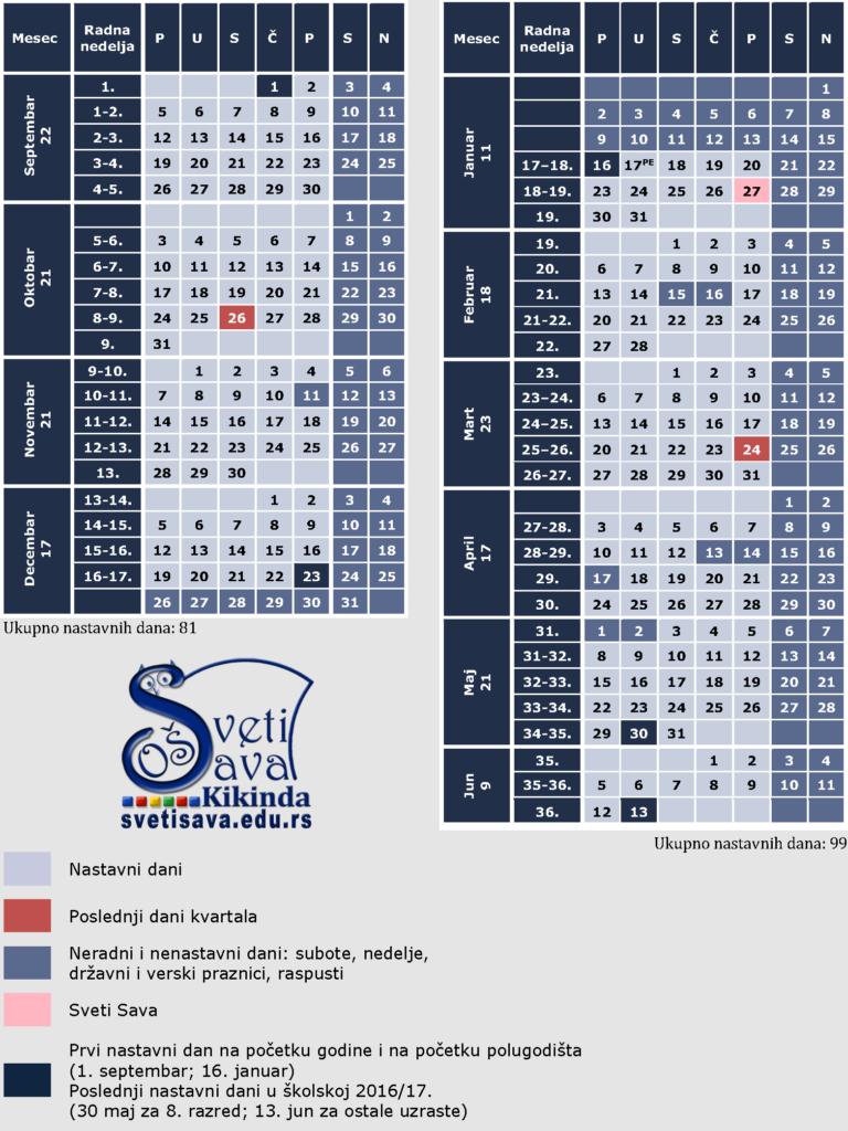 Skolski kalendar 2016-17-Vojvodina OSFull